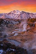 Sunrise over Hot Creek geothermal site and Laurel mountain in the Owens Valley just south of Mammoth Lakes along California's scenic desert highway 395.
