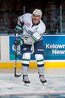 KELOWNA, CANADA - DECEMBER 7: Turner Ottenbreit #4 of the Seattle Thunderbirds warms up against the Kelowna Rockets on December 7, 2016 at Prospera Place in Kelowna, British Columbia, Canada.  (Photo by Marissa Baecker/Shoot the Breeze)  *** Local Caption ***