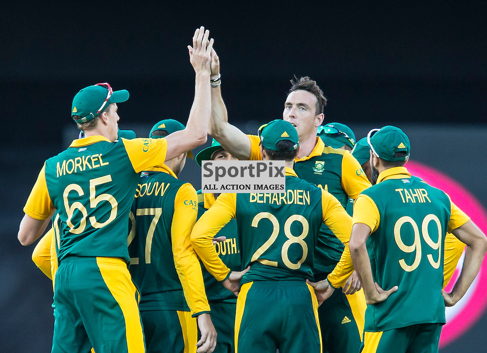 ICC Cricket World Cup 2015 Tournament Match, South Africa v West Indies, Sydney Cricket Ground; 27th February 2015<br /> South Africa celebrate after the wicket of West Indies Marlon Samuels