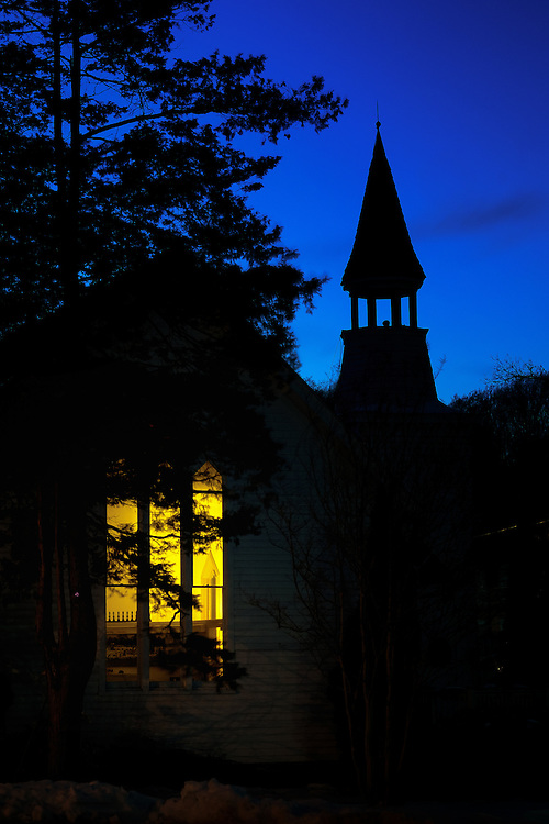 The historic Oella Church in Oella, Maryland shot at dusk.