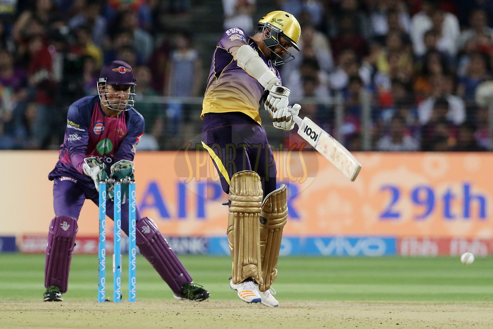 Sunil Narine of the Kolkata Knight Riders plays a shot during match 30 of the Vivo 2017 Indian Premier League between the Rising Pune Supergiants and the Kolkata Knight Riders  held at the MCA Pune International Cricket Stadium in Pune, India on the 26th April 2017<br /> <br /> Photo by Vipin Pawar- IPL - Sportzpics