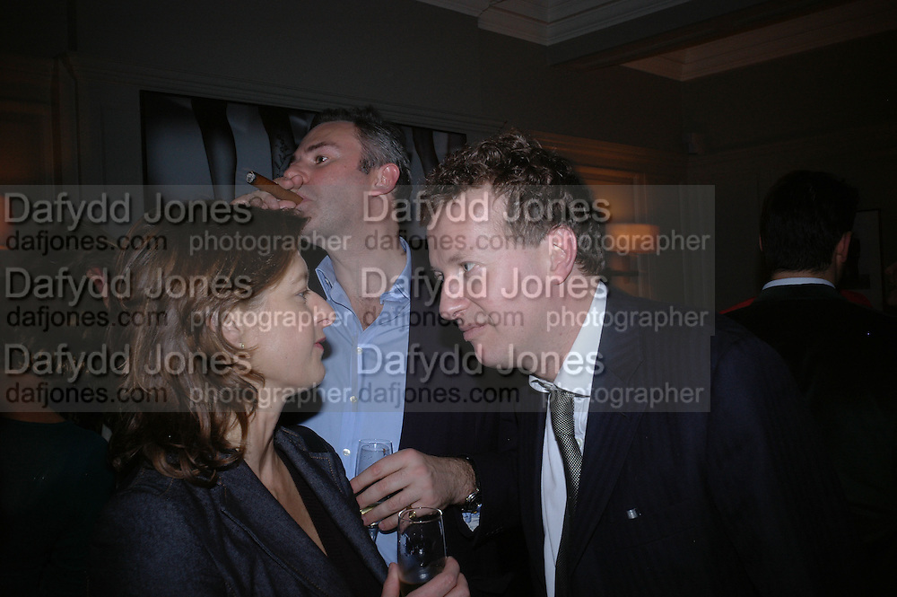 Alison Jackson, William Cash and Orlando Fraser. Olga Polizzi and Rocco Forte host a party to celebrate the re-opening of Brown's Hotel  after a  £19 million renovation. Albermarle St. London. 12 December 2005. ONE TIME USE ONLY - DO NOT ARCHIVE  © Copyright Photograph by Dafydd Jones 66 Stockwell Park Rd. London SW9 0DA Tel 020 7733 0108 www.dafjones.com
