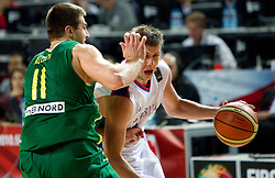 Linas Kleiza of Lithuania vs Novica Velickovic of Serbia during the third-place basketball match between National teams of Serbia and Lithuania at 2010 FIBA World Championships on September 12, 2010 at the Sinan Erdem Dome in Istanbul, Turkey. Lithuania defeated Serbia 99 - 88 and win placed third.  (Photo By Vid Ponikvar / Sportida.com)