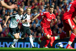 LIVERPOOL, ENGLAND - Sunday, April 11, 2010: Liverpool's Javier Mascherano and Fulham's captain Danny Murphy during the Premiership match at Anfield. (Photo by: David Rawcliffe/Propaganda)