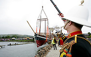 "The Spirit of Mystery being launched. Millbrook. Cornwall. UK.Pictures show the crowds watching as Pete Goss and his crew launch their new Cornish Lugger ""Spirit of Mystery""..Royal Marines drum Spirit of Mystery as she kissed the water for the first time today...Eliot Goss (Pete Goss' son).Andy Goss (Pete Goss'  brother).Mark Maidment (Pete Goss'  brother in-law).Pete Goss..Please credit all pictures ""Lloyd Images"""