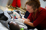 (Bobete, Lesotho - February 7, 2008) After arrival in Bobete, PIH Dr. Jen Furin performed a Pericardiocentesis on a seven year old boy who had fluid around his heart.  Normally done under the supervision of a cardiac surgeon, it brought the boys hear rate from about 160 to 115 in a matter of seconds. .Staff Photo Justin Ide/Harvard University News Office