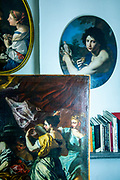 Rome, the coservative studio Merlini Storti,  various paintings that are under restoration inside the studio