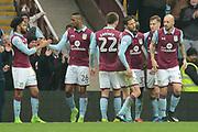 Aston Villa forward Jonathan Kodjia (26) scores a goal 2-0 and celebrates during the EFL Sky Bet Championship match between Aston Villa and Sheffield Wednesday at Villa Park, Birmingham, England on 11 March 2017. Photo by Alan Franklin.