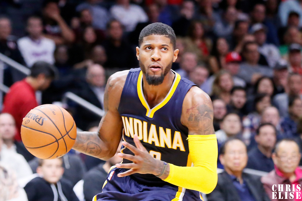 02 December 2015: Indiana Pacers forward Paul George (13) eyes the basket during the Indiana Pacers 103-91 victory over the Los Angeles Clippers, at the Staples Center, Los Angeles, California, USA.