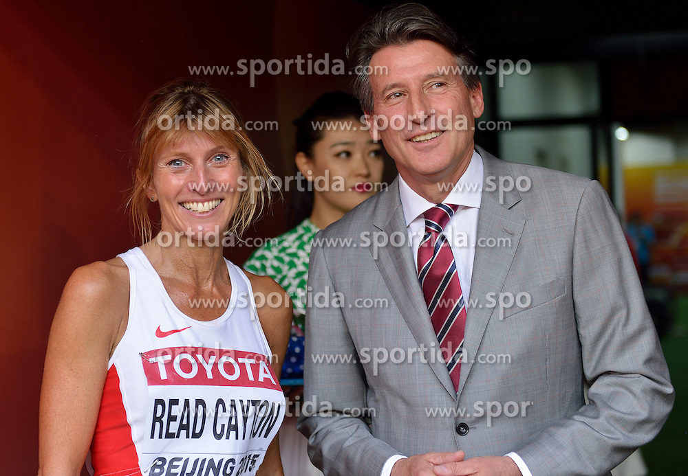 29-08-2015 CHN: IAAF World Championships Athletics day 7, Beijing<br /> Sarah Louise Read Cayton of Great Britain and Sebastian Coe, IAAF president Photo by Ronald Hoogendoorn / Sportida