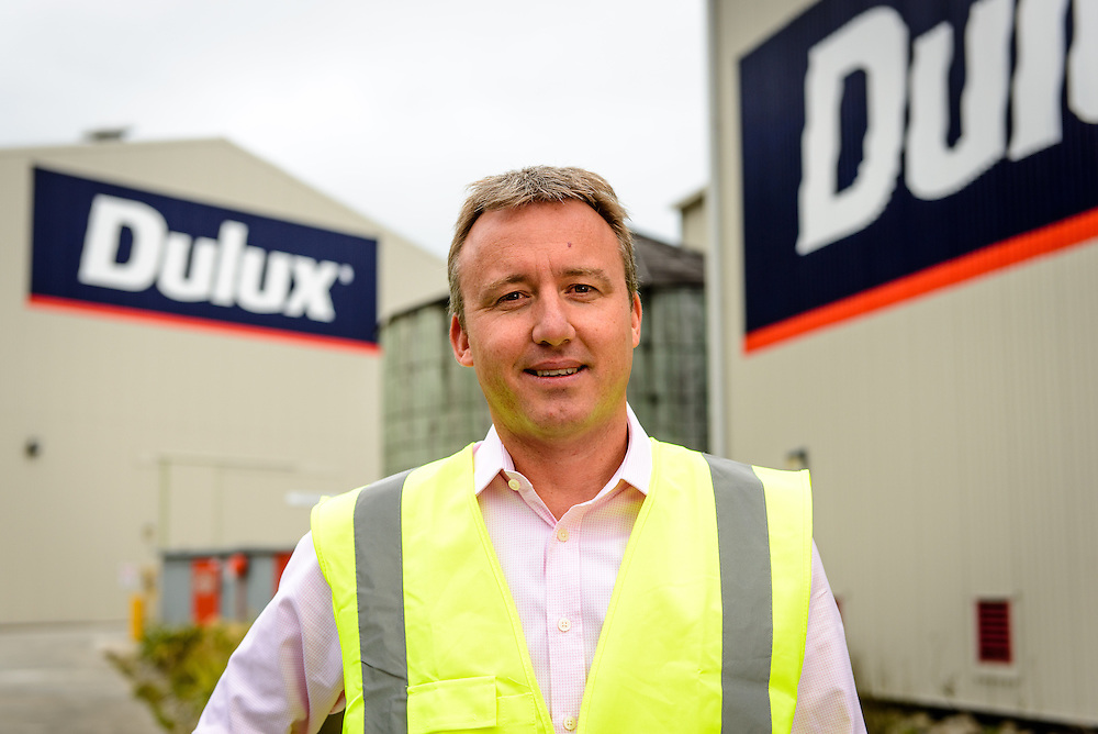 Environmental portrait of Dulux managing director (Richard Hansen) on site at Dulux Trade Centres, Boulcott, Lower Hutt.