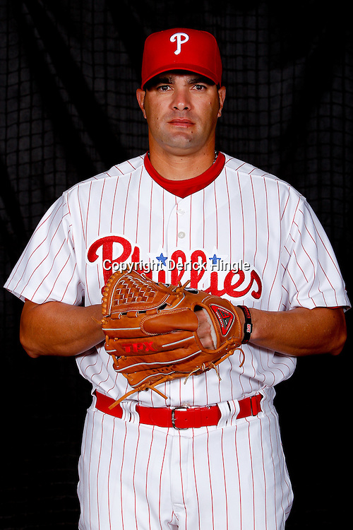 February 22, 2011; Clearwater, FL, USA; Philadelphia Phillies relief pitcher Danys Baez (55) poses during photo day at Bright House Networks Field. Mandatory Credit: Derick E. Hingle