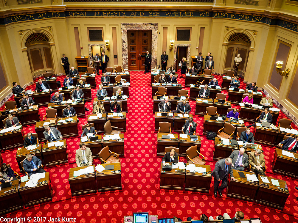 01 MAY 2017 - ST. PAUL, MN: The Minnesota State Senate in session in the Senate Chamber at the Minnesota State Capitol in St. Paul.       PHOTO BY JACK KURTZ