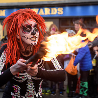 REPRO FREE<br /> Fire dancer Fiona Tierney pictured at this years Kinsale Halloween parade.<br /> Picture. John Allen