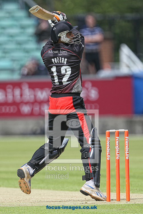 Picture by Mark Fletcher/Focus Images Ltd. 0775 2571576.01/07/12.Abdul Razzaq of Leicestershire Foxes cuts loose during the FL T20 match against Durham Dynamos at Emirates Durham ICG, Chester-le-Street, County Durham.