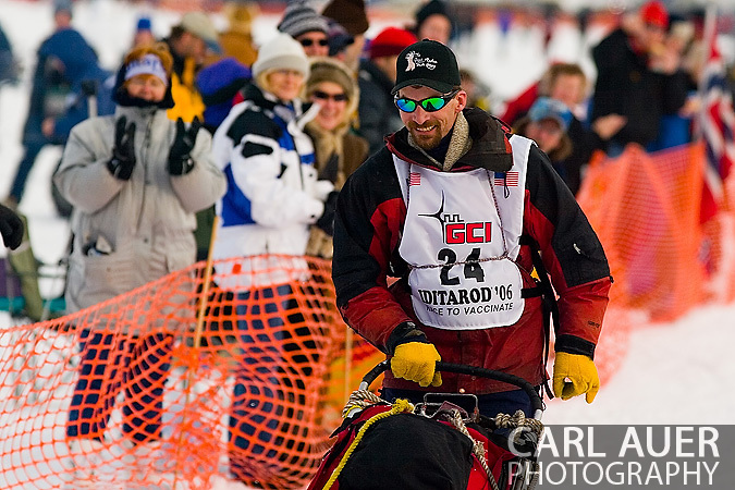 05 March 2006: Willow, Alaska - Two time Yukon Quest champ (2005 and 2006) Lance Mackey heads out to Nome in search of adding to his mushing trophy wall during the restart of the 2006 Iditarod on Willow Lake in Willow, Alaska