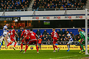 Queens Park Rangers forward Ryan Manning (14) attempts a header on goal during the EFL Sky Bet Championship match between Queens Park Rangers and Middlesbrough at the Kiyan Prince Foundation Stadium, London, England on 9 November 2019.