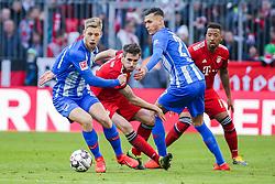 23.02.2019, Allianz Arena, Muenchen, GER, 1. FBL, FC Bayern Muenchen vs Hertha BSC, 23. Runde, im Bild v. li. im Zweikampf &nbsp;Arne Maier (Hertha BSC Berlin), Javi Martinez (FC Bayern Muenchen), Davie Selke (Hertha BSC Berlin) und Jerome Boateng (FC Bayern Muenchen) // during the German Bundesliga 23th round match between FC Bayern Muenchen and Hertha BSC at the Allianz Arena in Muenchen, Germany on 2019/02/23. EXPA Pictures &copy; 2019, PhotoCredit: EXPA/ Eibner-Pressefoto/ Tom Weller<br /> <br /> *****ATTENTION - OUT of GER*****