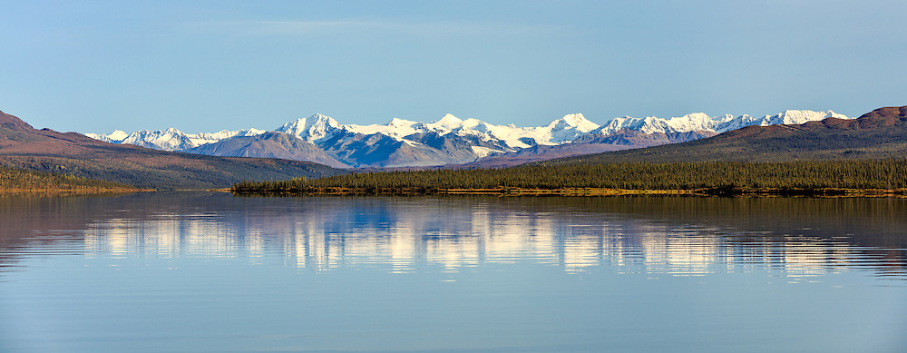Panorama of Alaska Range and Paxson Lake in Southcentral Alaska. Autumn. Morning.