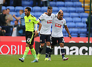 Bolton Wanderers striker Gary Madine celebrates his goal during the Sky Bet Championship match between Bolton Wanderers and Brighton and Hove Albion at the Macron Stadium, Bolton, England on 26 September 2015.