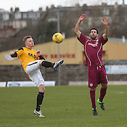 East Fife&rsquo;s Steven Campbell clears from Arbroath&rsquo;s Sergio Cecilia - East Fife v Arbroath, SPFL League Two at New Bayview<br /> <br />  - &copy; David Young - www.davidyoungphoto.co.uk - email: davidyoungphoto@gmail.com