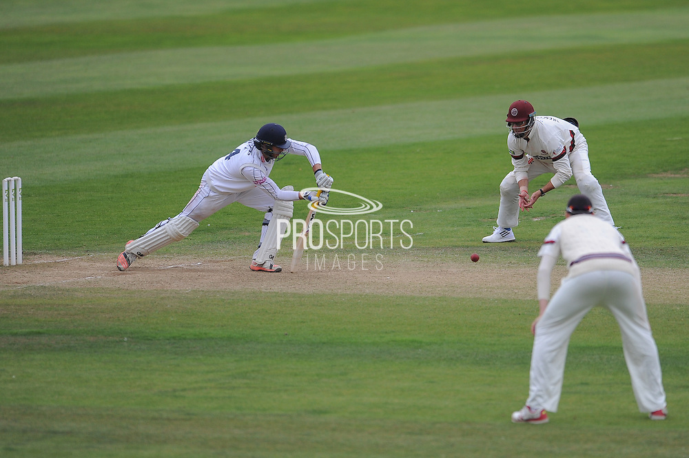 James Vince defends close to the end of play during the LV County Championship Div 1 match between Somerset County Cricket Club and Hampshire County Cricket Club at the County Ground, Taunton, United Kingdom on 11 September 2015. Photo by David Vokes.