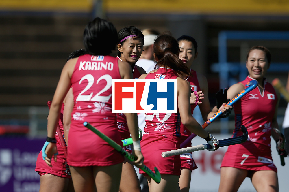 JOHANNESBURG, SOUTH AFRICA - JULY 14: Kana Nomura of Japan celebrates scoring their teams second goal during day 4 of the FIH Hockey World League Semi Finals Pool B match between Poland and Japan at Wits University on July 14, 2017 in Johannesburg, South Africa. (Photo by Jan Kruger/Getty Images for FIH)