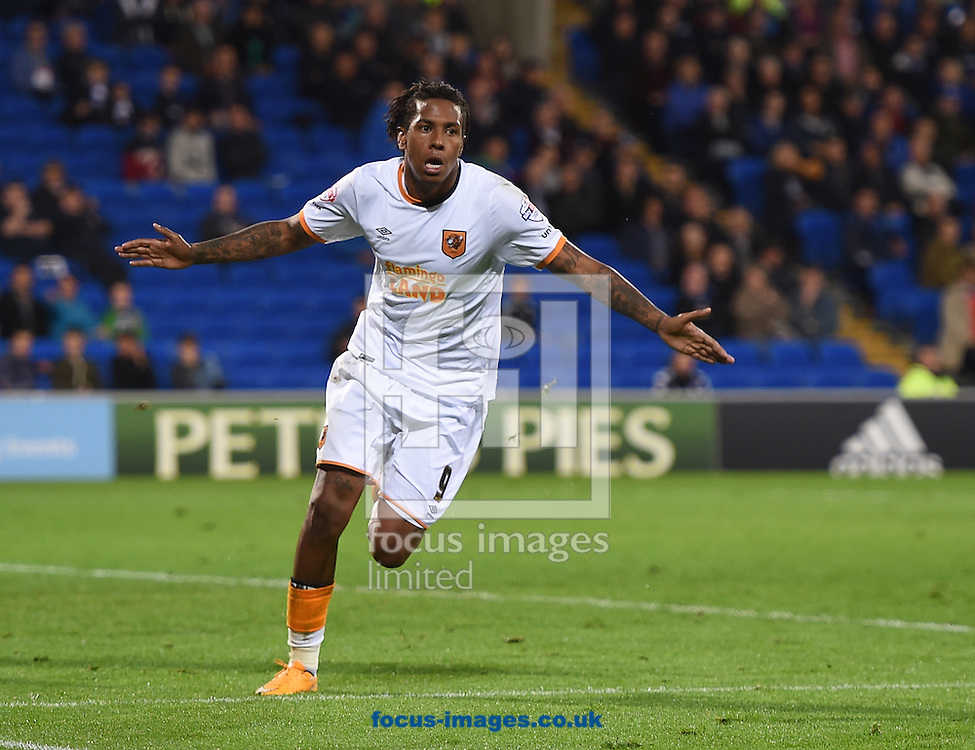 Hull City's Abel Hernandez celebrates scoring their second goal during the Sky Bet Championship match at the Cardiff City Stadium, Cardiff<br /> Picture by Daniel Hambury/Focus Images Ltd +44 7813 022858<br /> 15/09/2015
