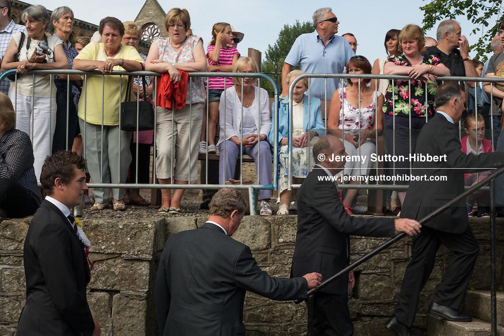 Jethart Callant's Festival, in Jedburgh,  Scotland, Friday 12th July 2013. With Callant Garry Ramsay, Right Hand man Iain Chisholm, Left Hand Man Ryan Miller, and Herald Allan Learmonth.<br /> N55&deg;28.629'<br /> W2&deg;33.273'