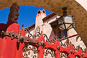 Red gate and sundial at Scottys Castle, Death Valley National Park. California