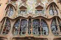 Casa Battlo in downtown Barcelona, Spain is one of Antonio Gaudi's most famous buildings.