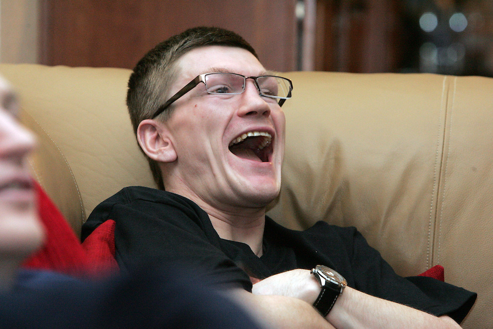 Ricky Hatton has a laugh at the last episode of 24/7. Ricky Hatton v Floyd Mayweather, Las Vegas, Nevada.