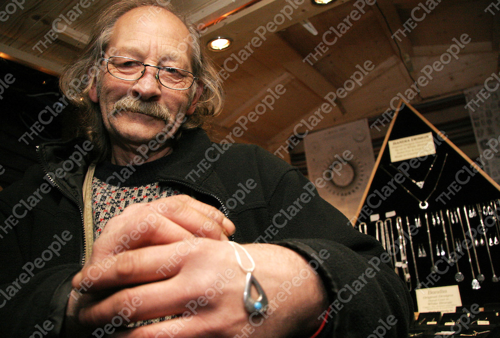 Jack Roberts with his hand crafted jewellery managed to withstand the cold at the first Ballyvaughan Christmas Market.<br />
