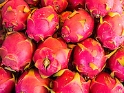 18 JULY 2013 - BANGKOK, THAILAND:  Dragonfruit for sale in the Onnuch (also known as On Nut) Wet Market off of Sukhumvit Soi 77 in Bangkok.       PHOTO BY JACK KURTZ