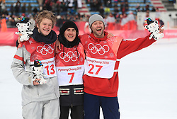 Great Britain's Billy Morgan (r) celebrates a bronze medal along side Kyle Mack (13) and Sebastien Toutant (7) in the Men's Snowboarding Big Air Final at the Alpensia Ski Jumping Centre during day fifteen of the PyeongChang 2018 Winter Olympic Games in South Korea.