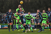 Forest Green Rovers Farrend Rawson(6) beats Bury's Chris Stokes to the ball during the EFL Sky Bet League 2 match between Forest Green Rovers and Bury at the New Lawn, Forest Green, United Kingdom on 19 January 2019.