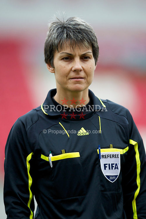 LLANELLI, WALES - Thursday, March 31, 2011: Referee Donka Zheleva-Terzieva before the UEFA European Women's Under-19 Championship Second Qualifying Round (Group 3) match between Iceland and Turkey at Parc Y Scarlets. (Photo by David Rawcliffe/Propaganda)