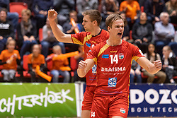 14-04-2019 NED: Achterhoek Orion - Draisma Dynamo, Doetinchem<br /> Orion win the fourth set and play the final round against Lycurgus. Dynamo won 2-3 / Wessel Blom #14 of Dynamo
