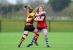 Clea Fawcett of Bristol Bears Women is tackled by Povey of Richmond Women- Mandatory by-line: Nizaam Jones/JMP - 23/03/2019 - RUGBY - Shaftesbury Park - Bristol, England - Bristol Bears Women v Richmond Women- Tyrrells Premier 15s