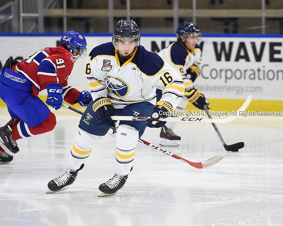 BUFFALO, ON - Sep 24, 2015 : Ontario Junior Hockey League game action between Buffalo and Kingston at the Showcase, Brenden Dunning #16 of the Buffalo Junior Sabres pursues the play during the second period.<br /> (Photo by Andy Corneau / OJHL Images)