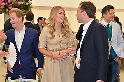Left to right, GUY PELLY, LADY KITTY SPENCER and JAMIE MURRAY WELLS at the Cartier Queen's Cup Polo final at Guard's Polo Club, Smiths Lawn, Windsor Great Park, Egham, Surrey on 14th June 2015