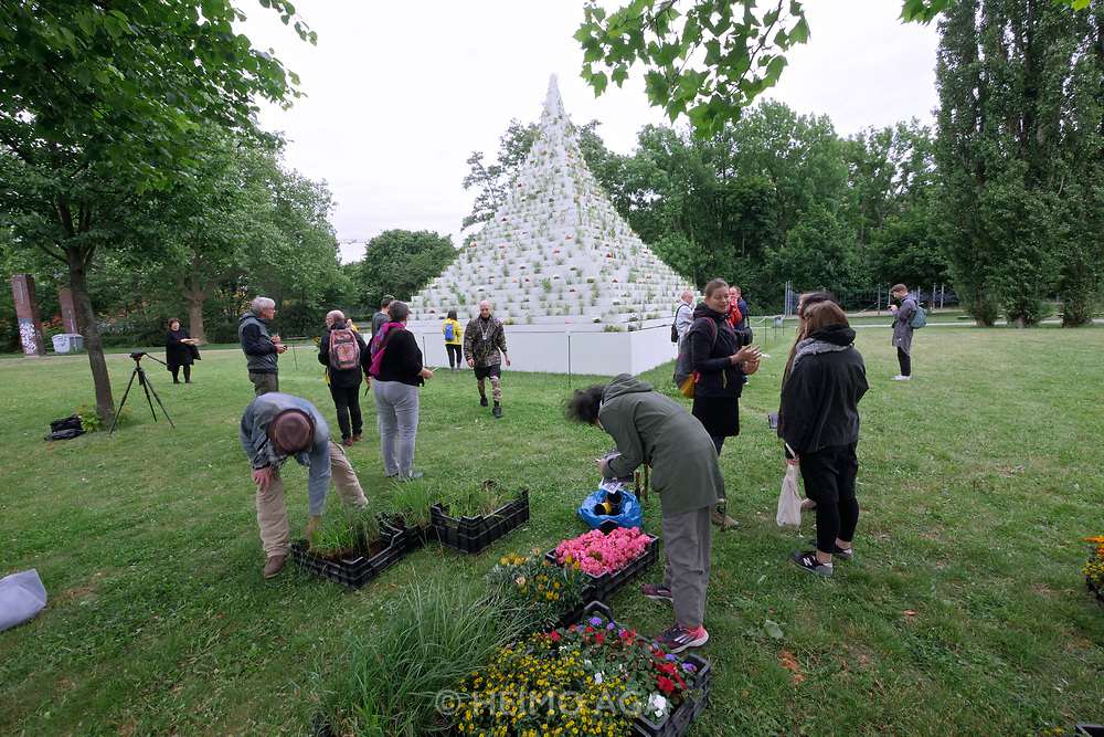 Kassel, Germany. Opening days of documenta14.<br /> Nordpark.<br /> Agnes Denes:  Living Pyramid