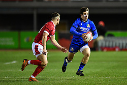 Giulio Bertaccini of Italy in action <br /> <br /> Photographer Craig Thomas/Replay Images<br /> <br /> U20 Six Nations - Wales v Italy  - Friday 31st January 2020 - Stadiwm Zip World (Parc Eirias) - Colwyn Bay<br /> <br /> World Copyright © Replay Images . All rights reserved. info@replayimages.co.uk - http://replayimages.co.uk