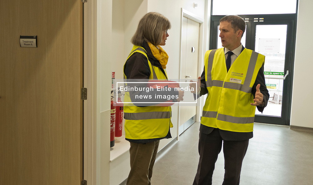 Pictured: Michael Matheson and Clinical Advisor and Commissioning Manager Marjo Van Weissel<br /> <br /> Infrastructure Secretary Michael Matheson visited East Lothian Community Hospital's construction site today to give an update on the Scottish Government's infrastructure programme, on the same day as an annual progress report is published<br /> <br /> Ger Harley | EEm 17 April 2019