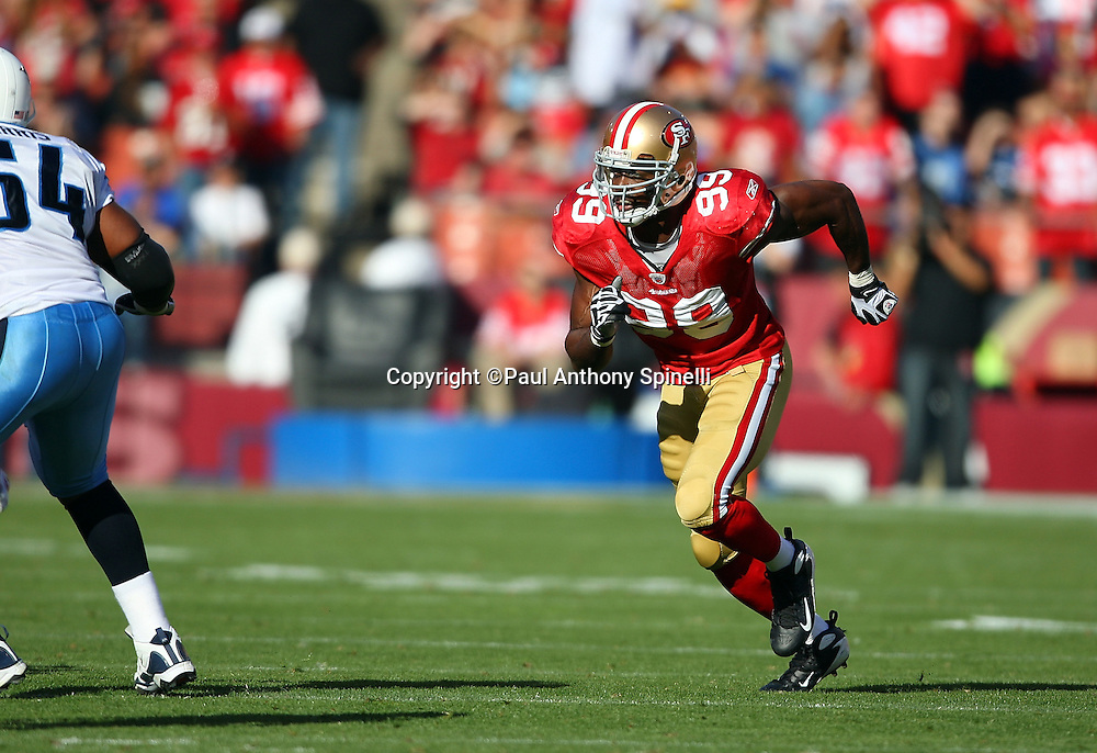 San Francisco 49ers linebacker Manny Lawson (99) makes a move during the NFL football game against the Tennessee Titans, November 8, 2009 in San Francisco, California. The Titans won the game 34-27. (©Paul Anthony Spinelli)