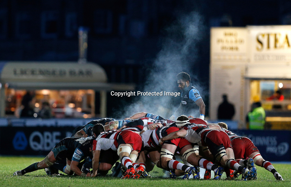 Guinness PRO12, Scotstoun Stadium, Scotland 27/12/2014<br /> Glasgow Warriors vs Edinburgh<br /> General view of a Scrum<br /> Mandatory Credit &copy;INPHO/Russell Cheyne