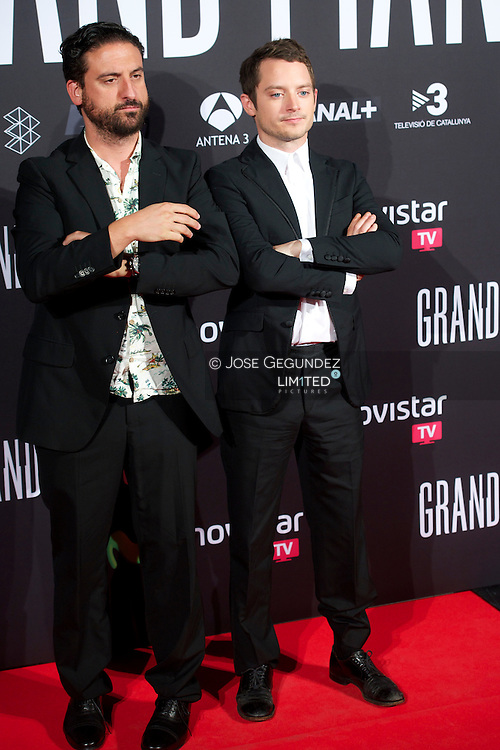 Elijah Wood and Director Eugenio Mira attend 'Grand Piano' premiere at Capitol Cinema on October 14, 2013 in Madrid, Spain.