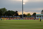 The sun sets during the Royal London Women's One Day International match between England Women Cricket and Australia at the Fischer County Ground, Grace Road, Leicester, United Kingdom on 4 July 2019.