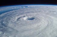 This close-up view of Hurricane Isabel was taken by one of the Expedition 7 crewmembers onboard the International Space Station on Sept. 15, 2003. Adjustment and preparation by David A. Ponton