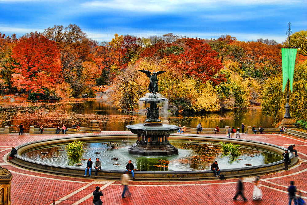 HDR image of Bethesda Terrace in the fall, Central Park, Manhattan, New York City.